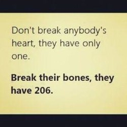 Don't break anybody's 