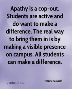 Apathy is a cop-out. 