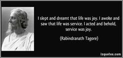 I slept and dreamt that life was joy. I awoke and 