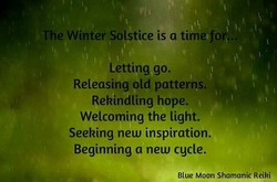 The Winter Solstice is a time for'.. 
