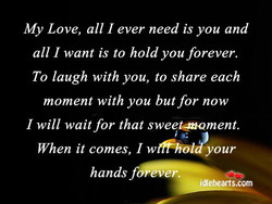 My Love, all I ever need is you and 