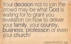 Your decision not to join the 