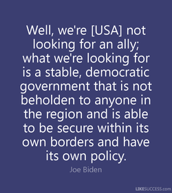 well, we're [USA] not 