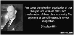 First comes thought; then organization of that 