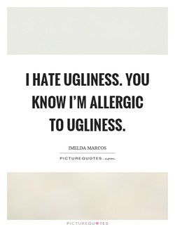 I HATE UGLINESS. YOU 