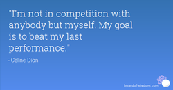 'I'm not in competition with 