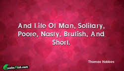 And Life Of Man, Solitary, 