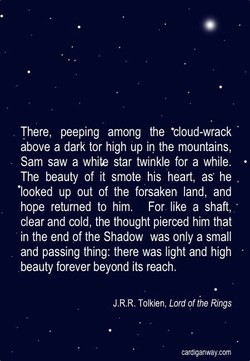 There, peeping among the •cloud-wrack 