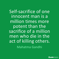 Self-sacrifice of one 