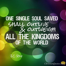 ONE SINGLE SOUL SAVED 