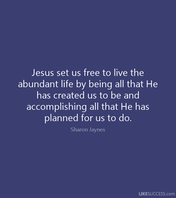Jesus set us free to live the abundant life by being all that He has created us to be and accomplishing all that He has planned for us to do. Sharon Jaynes LIKESUCCESS.com