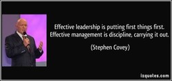 Effective leadership is putting first things first. 