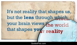 It's not reality that shapes us, 