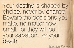 Your destiny is shaped by 