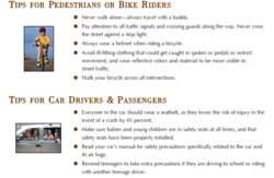 TIPS FOR PEDESTRIANS OR BIKE RIDERS 