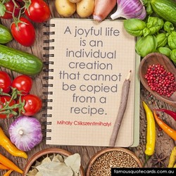 A joyful life is an individual creation that cannot be copied from a Csikszentmhatyi famousquoiecards comO
