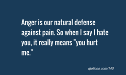 Anger is our natural defense 