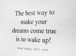 The best way to make your dreams come true is to wake up! Paul valéry 1871-1945