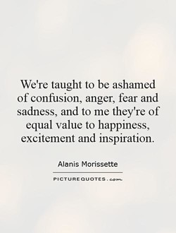 We're taught to be ashamed of confusion, anger, fear and sadness, and to me they're of equal value to happiness, excitement and inspiration. Alanis Morissette PICTURE QUOTES .