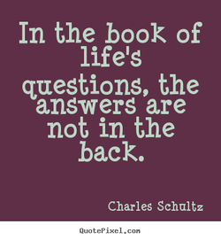In the book of lifels questions, the answers are not in the back. Charles Schultz Quot ep ixel. con