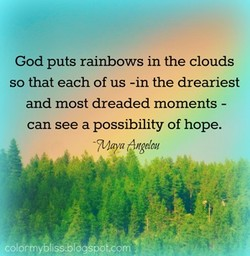 God puts rainbows in the clouds 