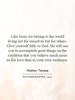 Like Jesus we belong to the world 