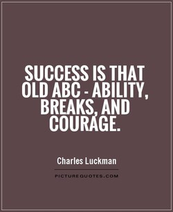 SUCCESS IS THAT OLD ABC - ABILITY, BREAKS AND COURAGE. Charles Luckman PICTUREOUOTES.COM