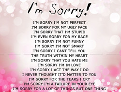 I'M SORRY I'M NOT PERFECT 