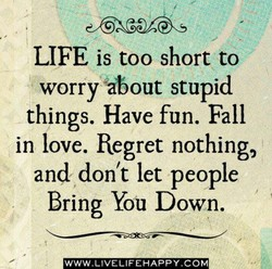 LIFE is too short to worry 'about stupid things. Have fun. Fall in love. Regret nothing, and don't let people Bring You Down. WWW.LIVELIFEHAPPY.COM