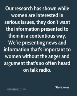 Our research has shown while 
