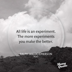 All life is an experiment. 