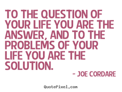 TO THE QUESTION OF YOUR LIFE YOU ARE THE ANSWER AND TO THE PROBLEMS OF YOUR LIFE YOU ARE THE SOLUTION. - JOE CORDARE QuotePixeI. con
