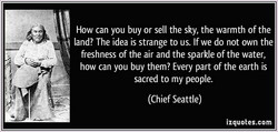 How can you buy or sell the sky, the warmth of the 