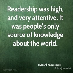 Readership was high, 