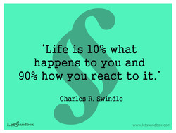 'Life is 10% what 