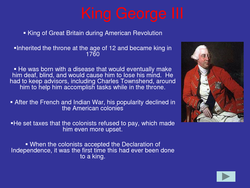 • King of Great Britain during American Revolution 