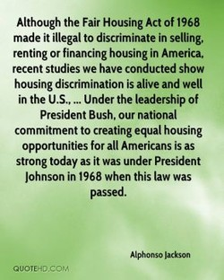 Although the Fair Housing Act Of 1968 