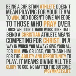 BEING A CHRISTIAN ATHLETE DOESN'T 