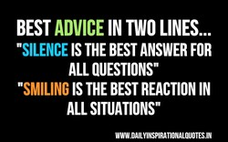 BEST ADVICE IN TWO LINES...