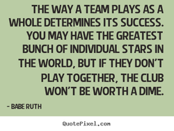THE WAY A TEAM PLAYS AS A 