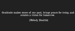 Gratitude makes sense of our past, brings peace for today, and 