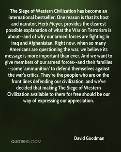 The Siege of Western Civilization has become an 