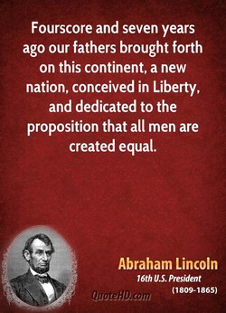 Fourscore and seven years 
