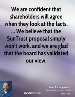 We are confident that 