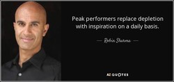 Peak performers replace depletion 