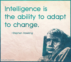 Intelligence is the ability to adapt to change, -Stephen Hawking EmilqsOuoees.Com