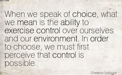When we speak of choice what we mean IS the ability to exercise contro over ourse ves and our environment In order tochoose, we must first perce ve that control IS possible