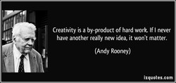 Creativity is a by-product of hard work. If I never 