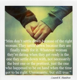 •Men don't settle 