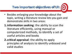 Two important objectives of-LR: @ 